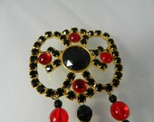 Large Vintage Tassle Brooch Red and Black Costume Jewelry