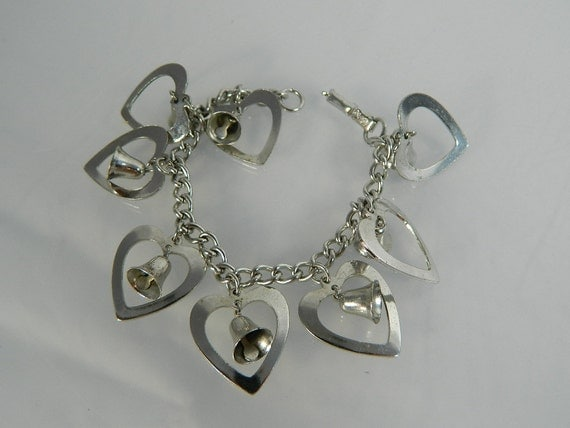 Coro Bracelet Hearts and Bells Silvertone