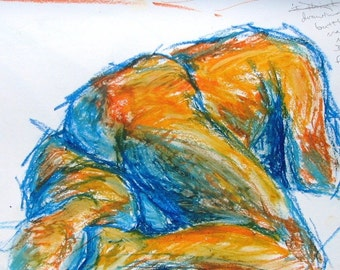 Complementary, a nude male figure oil pastel