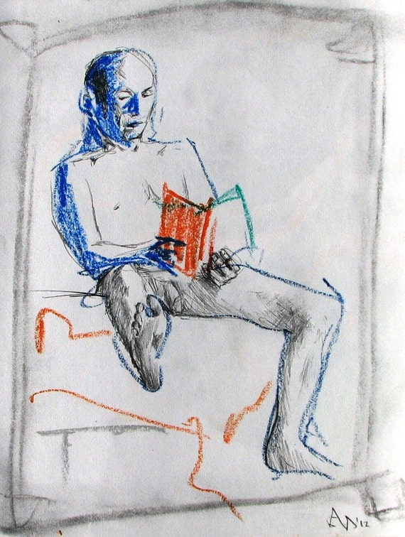 WELL READ in the NUDE, male figure