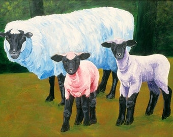 Small Fine Art Print of Ewe with Lambs Acrylic Painting