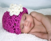 Baby Beanie Photo Prop or Fashionable Accessory -Fuschia Flapper- Hand Crochet