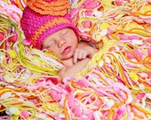Fringe Baby Blanket- Maternity Photo Prop- Peek-a-boo Yellow- Tangerine- Pink