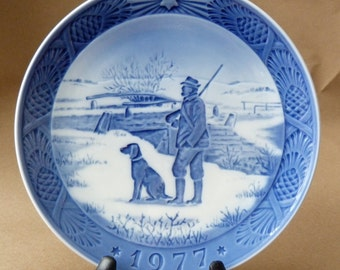 Royal Copenhagen Plate - Immervad Bridge - 1977 - Blue Decorative Collectible Plate