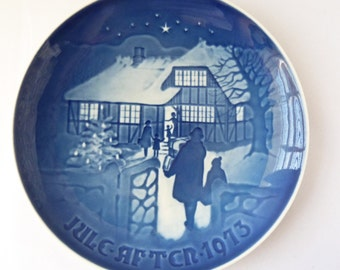 B&G Plate - Country Christmas - 1973 - Blue Decorative Christmas Plate