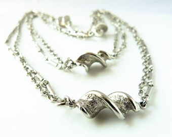 Silver Toned Long Spiral Link Necklace - Double Necklace