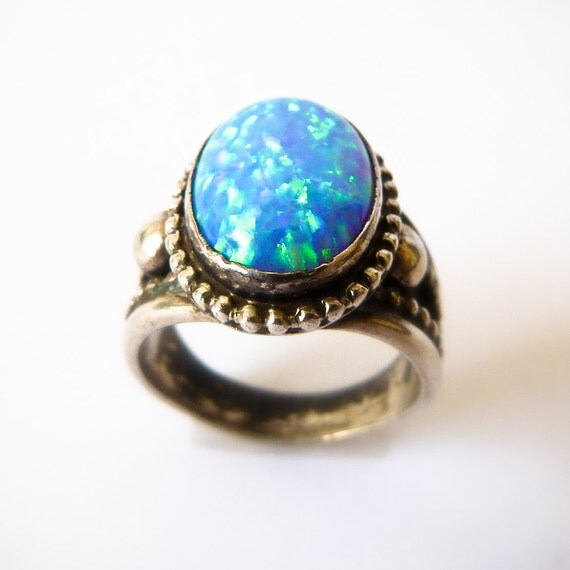 Sterling Silver Fire Opal Ring - Size 5 1/2