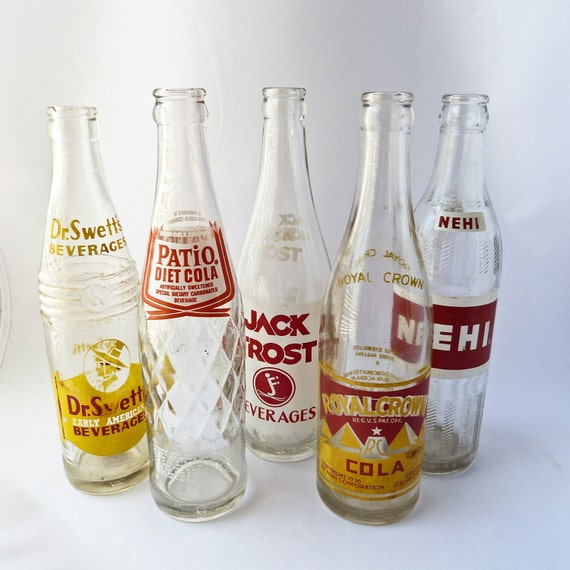 Vintage Soda Soft Drink Bottles - Lot of 5 - Dr. Swett's - Patio Diet Cola - Nehi - Royal Crown Cola - Jack Frost