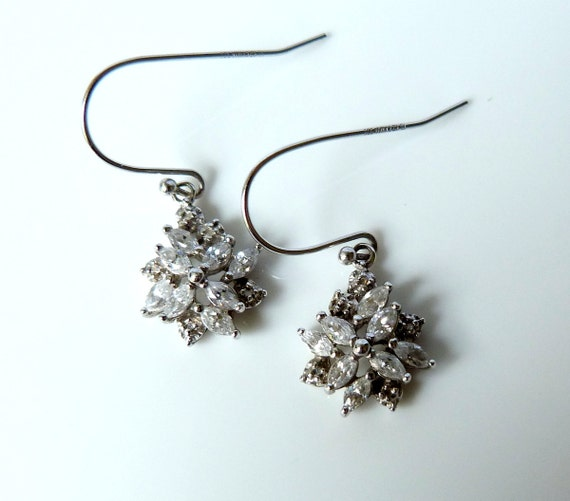 Sterling Silver Rhinestone Snowflake Hook Earrings
