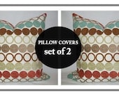 Accent Pillow Set.18x18 inch.Decorator Pillow Covers.Multi Colored Circles Woven Chenille Pattern.Cushion Cover