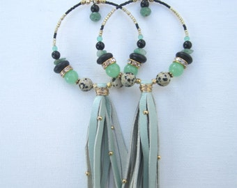 Green Jade, Jasper, Black Onyx, Aventurine and 22KT Gold Leather Tassel Beaded Hoop Earrings