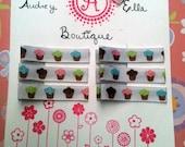 Cupcake ribbon barrettes