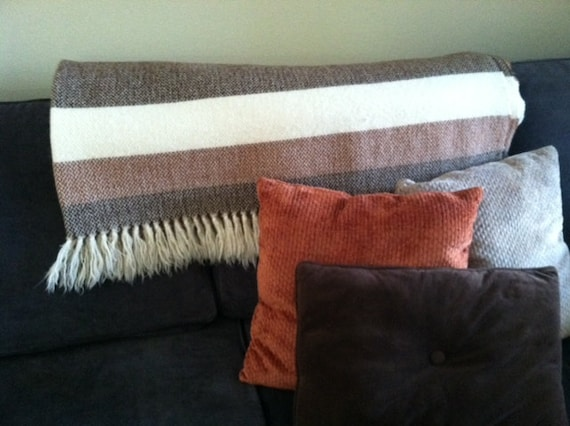 Cream White with Brown and Rust Orange Stripe Wool Blanket