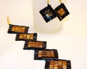 SAlE, FREE  SHIPPING Handmade, beadwork, Square tile Miyuki tila Bracelet and free earrings