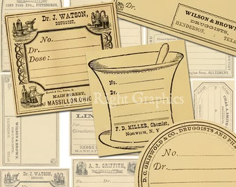 Vintage Blank Apothecary Labels Journaling Card Ephemera Digital Collage Sheet