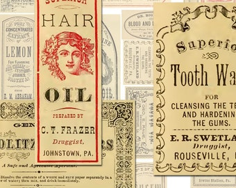 Vintage Apothecary Labels Ephemera Digital Collage Sheet