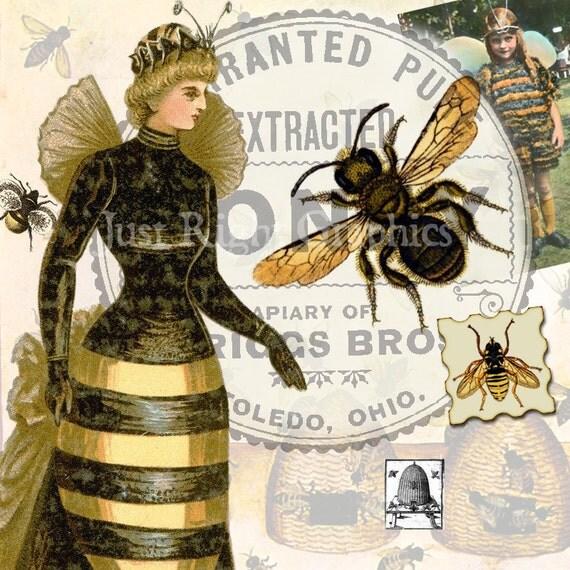 Vintage Bees Clip Art Digital Collage Sheet Art Journal