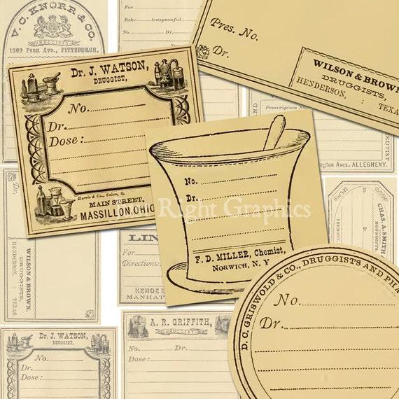 Vintage Blank Apothecary Labels Journaling Card Ephemera Digital Collage Sheet