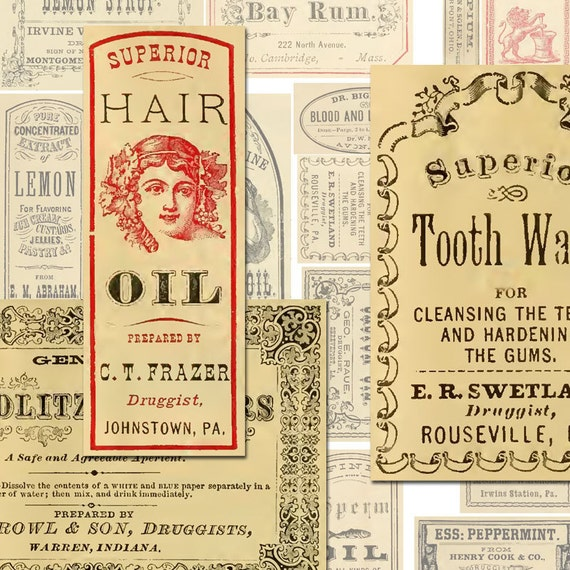Vintage Apothecary Labels Ephemera Digital Collage Sheet