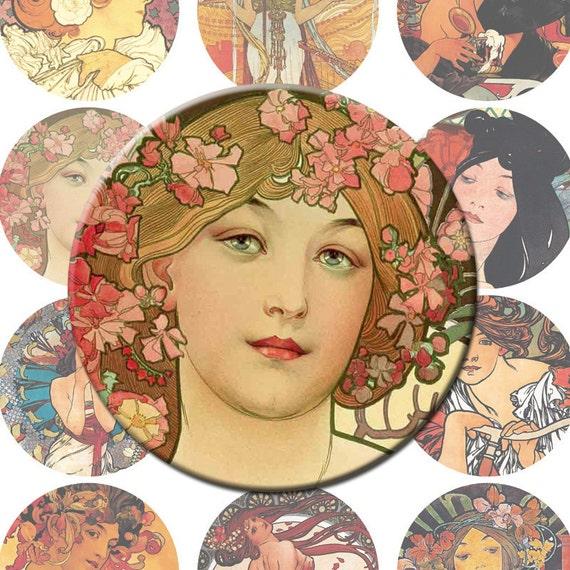 Mucha 2.5 Inch Circles Digital Collage Sheet Ladies Mirror
