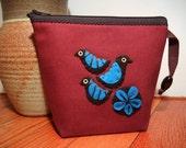 Bird Pattern Makeup Bag, Printed Zipper Pouch, Small Travel Carrier, Handmade Gift. Applique Felt Birds Embellishment. Hand Printed Lining.