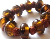 Unique roundel glass with knotting beads Bracelet - whisky major-T-B-27
