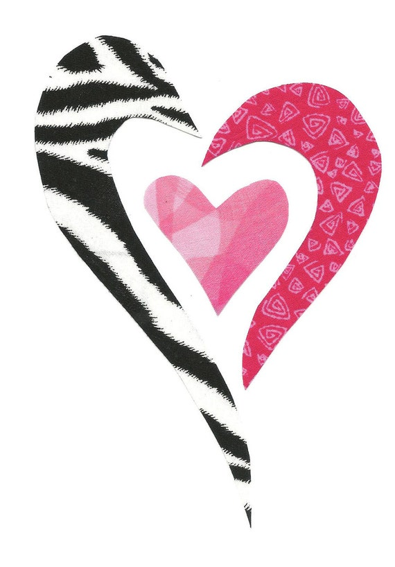 Boutique Zebra Iron on Applique Heart