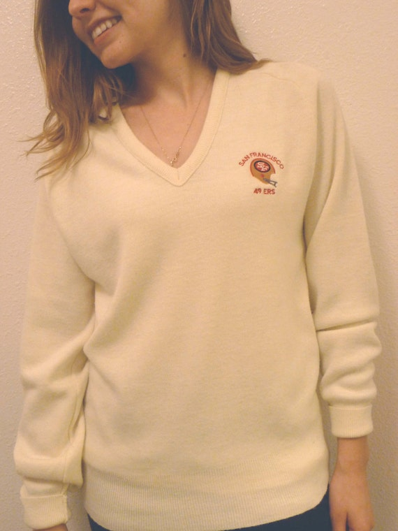 Vintage SF 49ers V Neck 80s cream Embroidered SWEATER by Logo 7 Unisex