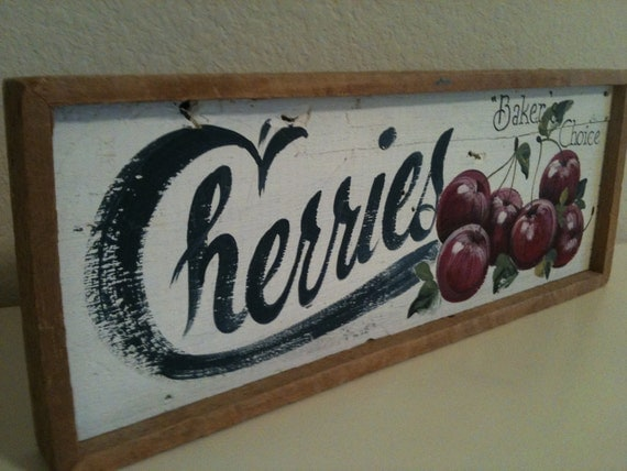 Rustic Wood Sign Cherries Farm Stand Hand Painted Acrylic Sign on Barn Wood, Country Rustic Shabby Wood Sign