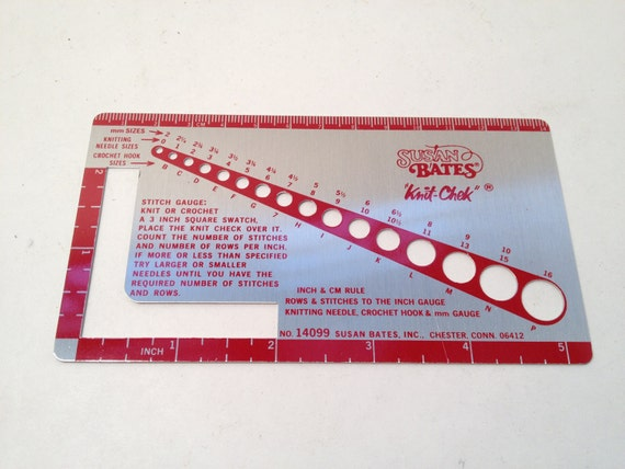 Susan Bates Knit-Chek Sewing Tool,  Vintage Sewing Needle Gauge, Inch & CM ruler, and Stitch Measure Three-in-one Versatile Tool