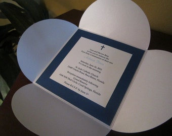 White and Cobalt Blue Petal First Communion, Baptism or Graduation Invitation