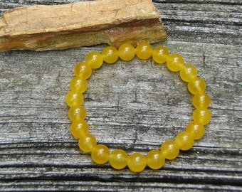 Lemon Jade stone beaded 8mm gemstone stretch, stacking, healing, girls, boys, baby bracelet  B14