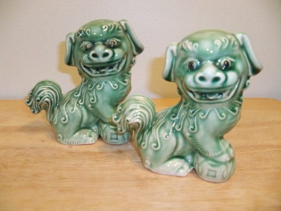 Pair of green glazed Foo dogs