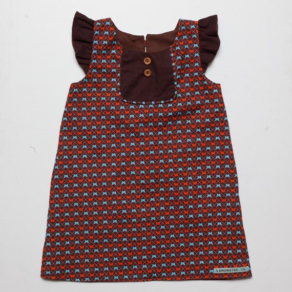 Brown Butterfly Dress, Girl Size 4