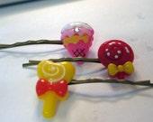 Bobby Hair Pins kawaii resin ice cream candy lollipop (set of 3)