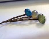Bobby Hair Pins rhinestone oval gem (set of 3)