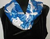 Blue Navy White Underwater Pattern Devore Satin Silk 15 x 60