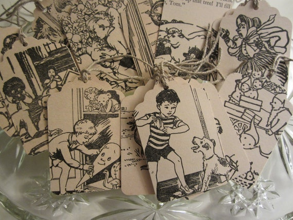 Handmade Gift Tags from a Antique Enid Blyton Book  Set of 15
