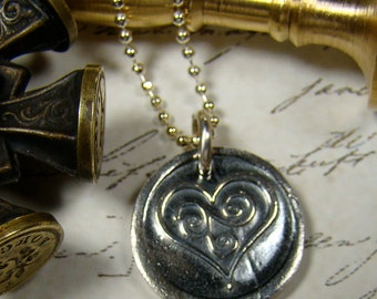 Swirling Heart Wax Seal Pendant and Chain
