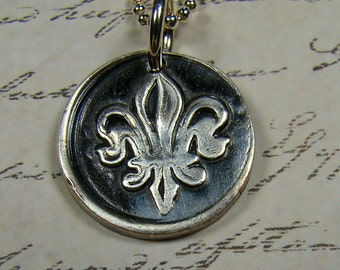 Fleur-de-Lis  Wax Seal Pendant and Chain