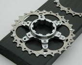 Exploded cassette cogs pinned to a pearl black board wall hanger
