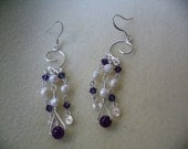 Amethyst, Freshwater Pearl and Crystal Bicone Silver-plated Earrings