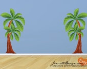 Wall Decal, Palm Trees Fabric Wall Decal, Large Tree Wall Stickers