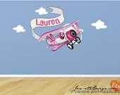 Pink Airplane and Personalized Banner Fabric Wall Decal