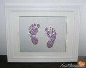 Nursery Wall Art,Custom Swarovski Crystal Baby FootPrints or Monogram