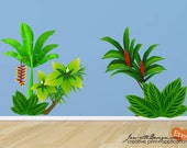 Wall Decals, Jungle Plants Fabric Wall Decal,Tree wall Stickers