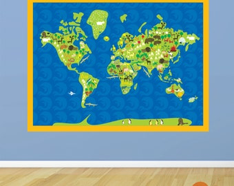 Animals of the World Map Fabric Wall Decal