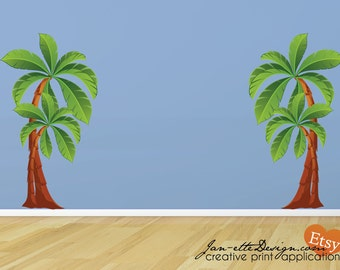 Kids Palm Tree Wall Decals, Large Removable and Reposotionable Fabric Wall Stickers