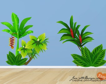 Jungle Wall Decals,Kids large jungle trees and plants, Removable and Repositionable Fabric Wall Decals