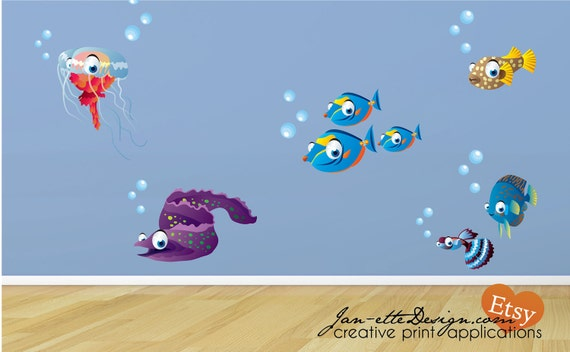Wall Decals, Kids Sea Life Fabric Wall Decals,Large Fish wall Stickers, Ocean Wall Art